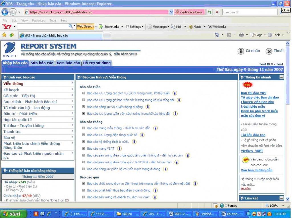 VRS (VNPT REPORT SYSTEM)