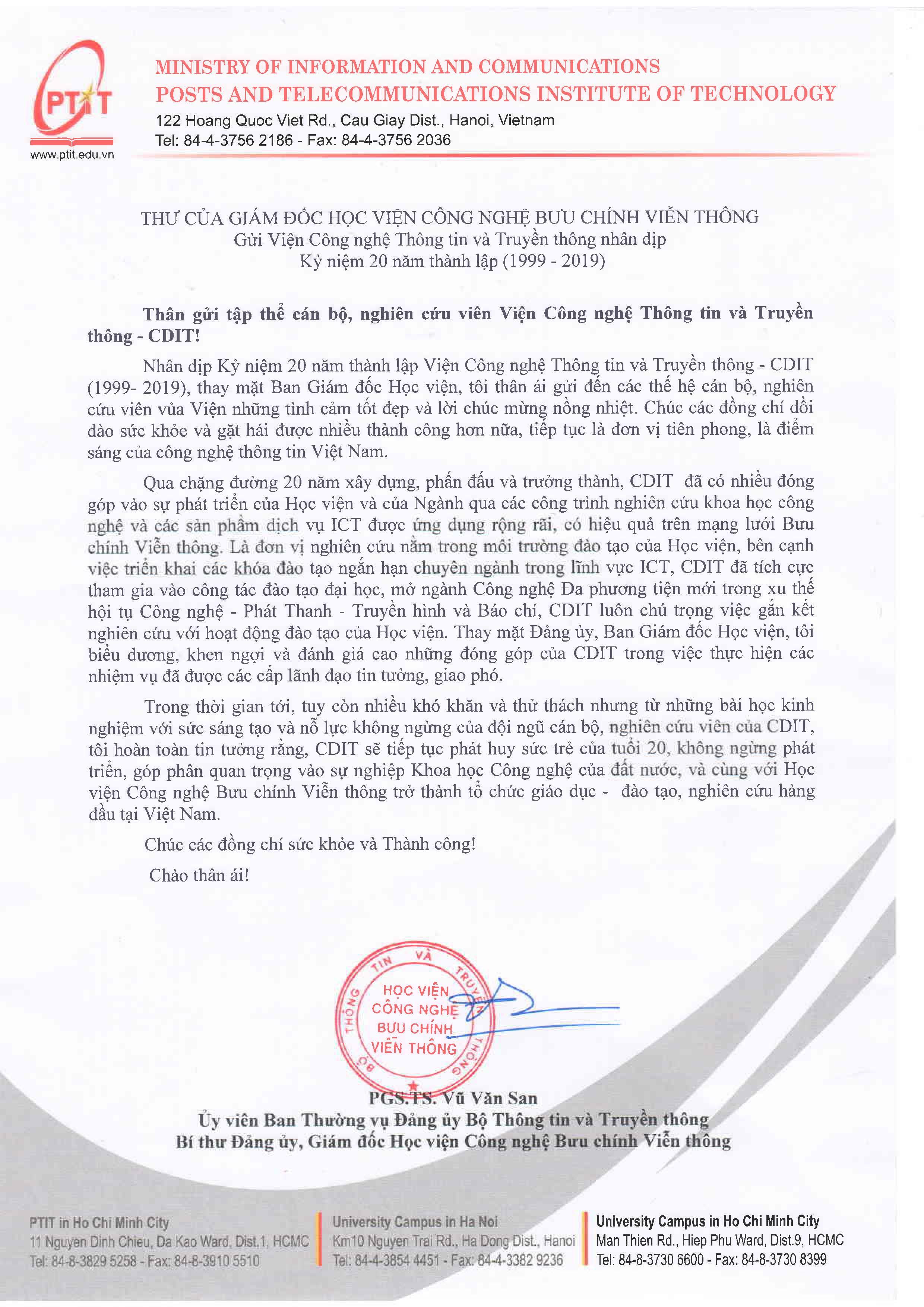 Thu chuc mung cua GDHV 20 nam